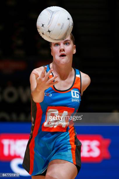 Kiera Austin of the Giants receives a pass during the round three Australian Netball League match between the Magpies and the Giants at Hisense Arena...