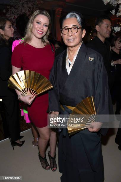 Kiera Chaplin and Kenzo Takada the 80th Kenzo Takada Birthday Party at Pavillon Ledoyen on February 28 2019 in Paris France
