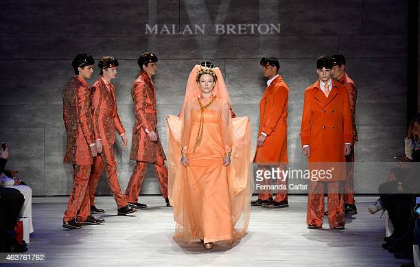 Kiera Chaplin walks the runway at the Malan Breton fashion show during Mercedes-Benz Fashion Week Fall at The Pavilion at Lincoln Center on February...