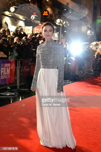 """Kiera Knightley attends the UK Premiere and BFI Patrons Gala screening of """"Colette"""" during the 62nd BFI London Film Festival at Cineworld Leicester..."""