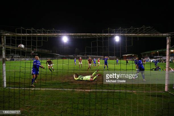 Kiera Skeels of Bristol City scores their side's first goal past Kerstie Levell of Leicester City during the FA Women's Continental League Cup Semi...