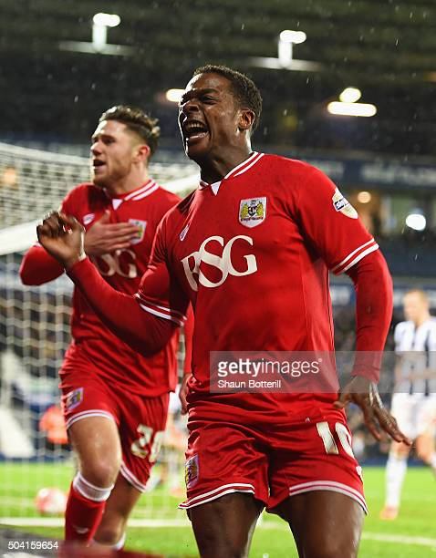 Kieran Agard of Bristol City celebrates scoring his team's second goal with his team mate Wes Burns during the Emirates FA Cup Third Round match...