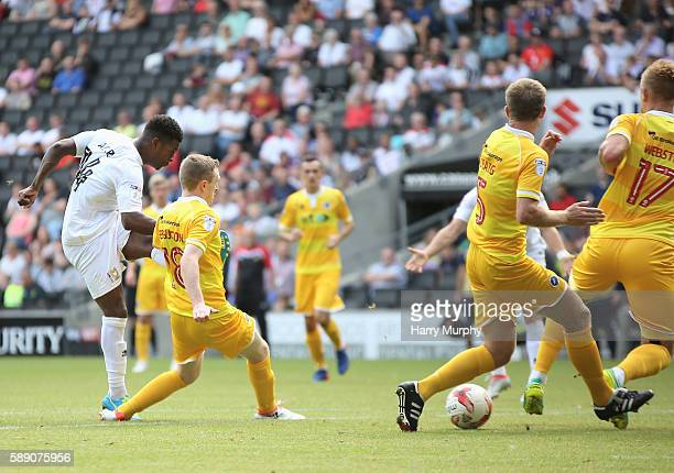Kieran Agard of MK Dons scores during the Sky Bet League One match between Milton Keynes Dons and Millwall at StadiumMK on August 13 2016 in Milton...
