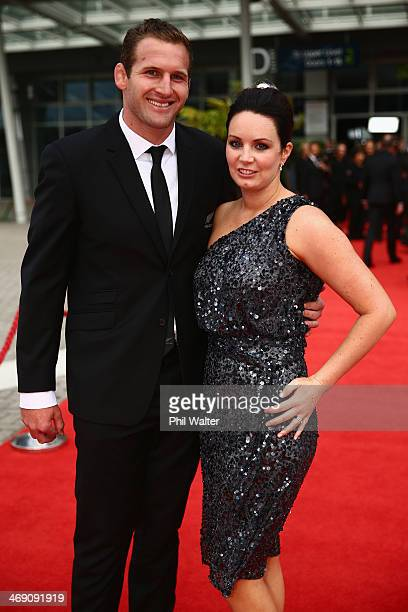 Kieran and Bridget Read pose on the red carpet ahead of the Westpac Halberg Awards at Vector Arena on February 13 2014 in Auckland New Zealand