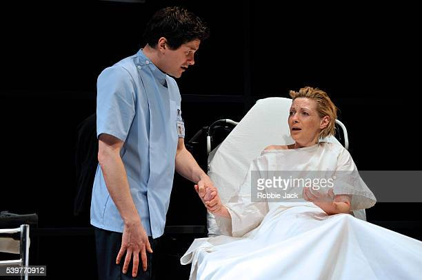 Kieran Bew as Brian and Lisa Dillon as Lucy in David Eldridge's The Knot Of The Heart at the Almeida Theatre in London