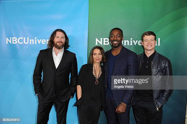Kieran Bew, Joanne Whalley, David Ajala and Ed Speleers arrive at the 2016 Winter TCA Tour - NBCUniversal Press Tour Day 2 at Langham Hotel on...