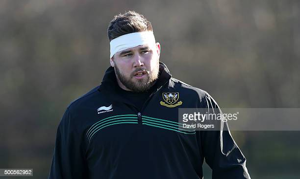 Kieran Brookes looks on during the Northampton Saints training session held at Franklin's Gardens on December 9, 2015 in Northampton, England.