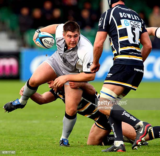 Kieran Brookes of Newcastle breaks away during the LV Cup game between Worcester Warriors and Newcastle Falcons on November 7 2009 at Sixways Stadium...