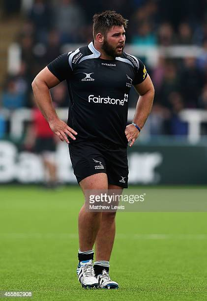 Kieran Brookes of Newcastle Falcons in action during the Aviva Premiership match between Newcastle Falcons and Northampton Saints at Kingston Park on...