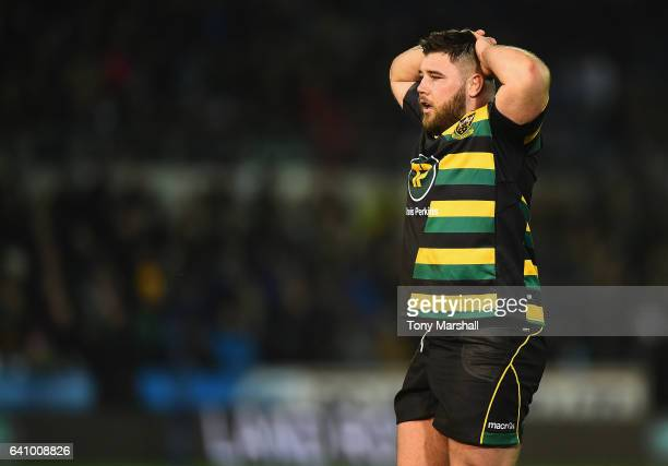 Kieran Brookes of Northampton Saints during the Anglo-Welsh Cup match between Northampton Saints and Scarlets at Franklin's Gardens on February 3,...