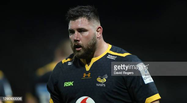 Kieran Brookes of Wasps looks on during the Heineken Champions Cup Pool 1 match between Dragons and Wasps at Rodney Parade on December 12, 2020 in...
