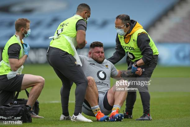 Kieran Brookes of Wasps receives treatment after being injured during the Gallagher Premiership Rugby match between Harlequins and Wasps at...
