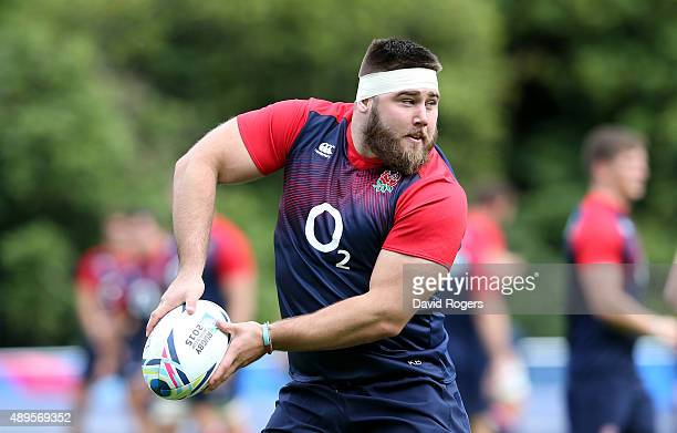 Kieran Brookes passes the ball during the England training session at Pennyhill Park on September 22, 2015 in Bagshot, England.