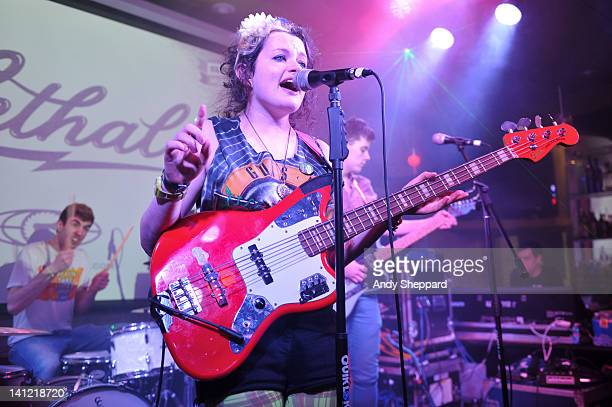 Kieran Coyle Eimear Coyle and Ryan McGroarty of The Wonder Villains perform on stage at The British Music Embassy Latitude 30 during SXSW Interactive...