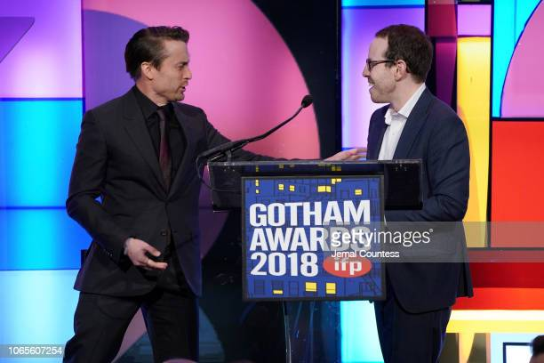 Kieran Culkin and Ari Aster speak onstage during IFP's 28th Annual Gotham Independent Film Awards at Cipriani Wall Street on November 26 2018 in New...