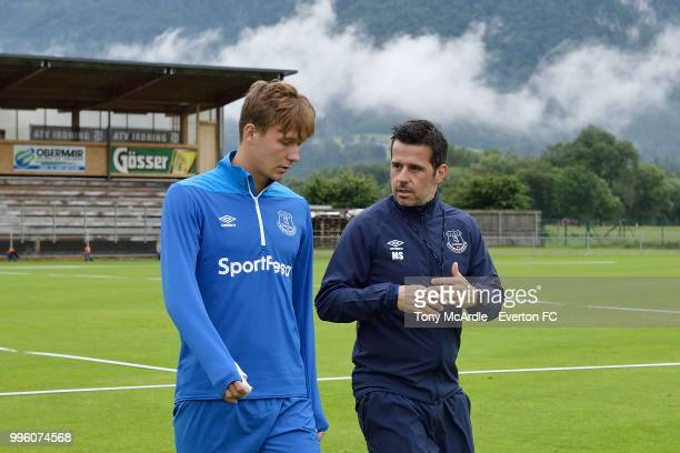Kieran Dowell and Marco Silva of Everton during the Everton training session on July 11 2018 in Bad Mitterndorf Austria