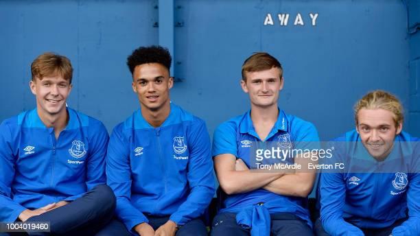 BURY ENGLAND JULY 18 Kieran Dowell Antonee Robinson Callum Connolly and Tom Davies of Everton before the PreSeason friendly match between Bury and...
