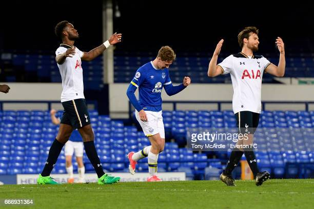 Kieran Dowell celebrates his goal for Everton during the Premier League 2 match between Everton U23 and Tottenham Hotspur U23 at Goodison Park on...