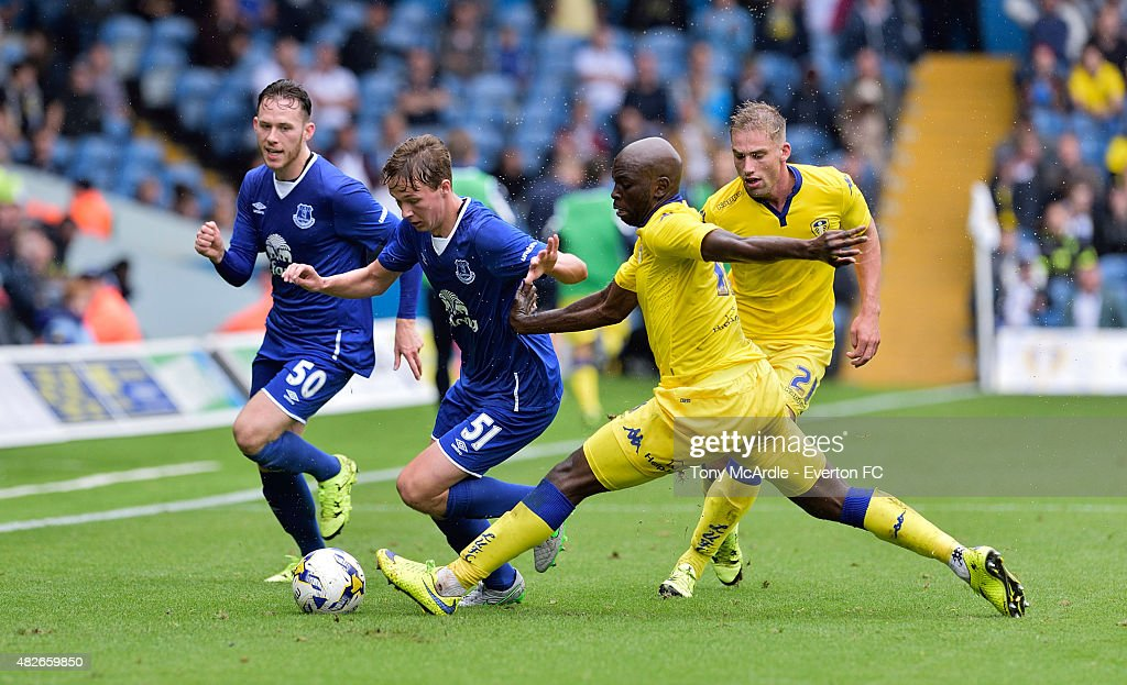 Kieran Dowell is tackled by Souleymane Doukara during the pre-season friendly between Leeds United and Everton at Elland Road on August 1, 2015 in Leeds, England.