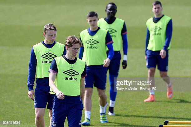 Kieran Dowell Matthew Pennington and team mates during the Everton training session at Finch Farm on May 5 2016 in Halewood England