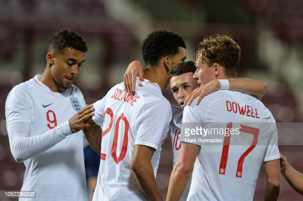 Kieran Dowell of England U21 celebrates with teammates after scoring his team's second goal during the 2019 UEFA European Under21 Championship...