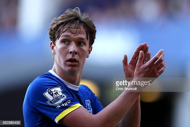 Kieran Dowell of Everton applauds the fans during the Barclays Premier League match between Everton and Norwich City at Goodison Park on May 15 2016...