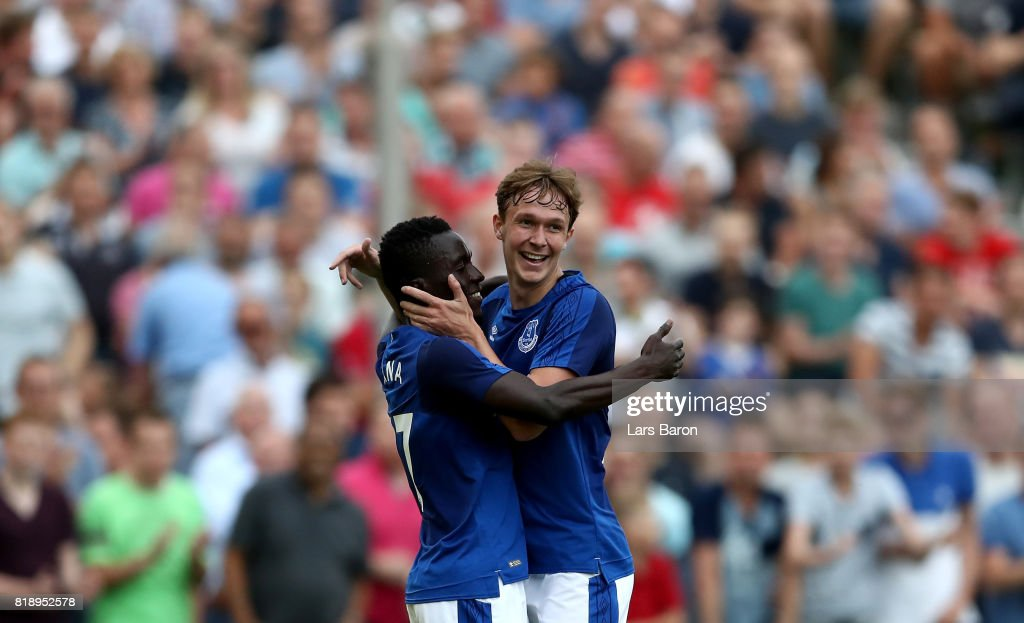 Kieran Dowell of Everton celebrates with tema mates after scoring his teams third goal during a preseason friendly match between FC Twente and Everton FC at Sportpark de Stockakker on July 19, 2017 in De Lutte, Netherlands.