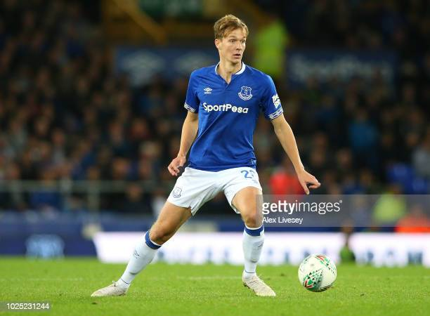 Kieran Dowell of Everton controls the ball during the Carabao Cup Second Round match between Everton and Rotherham United at Goodison Park on August...