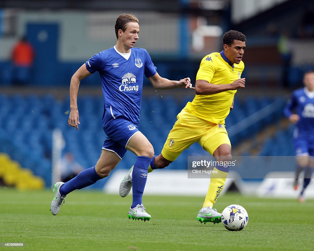 Kieran Dowell of Everton in action during the Pre Season Friendly match between Leeds United and Everton at Elland Road on August 1, 2015 in Leeds, England.