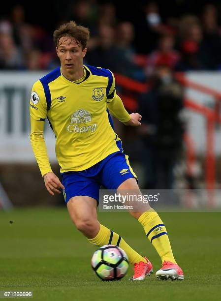 Kieran Dowell of Everton in action during the Premier League 2 match between Chelsea and Everton on April 21 2017 in Aldershot England