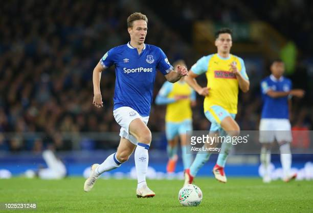 Kieran Dowell of Everton runs with the ball during the Carabao Cup Second Round match between Everton and Rotherham United at Goodison Park on August...