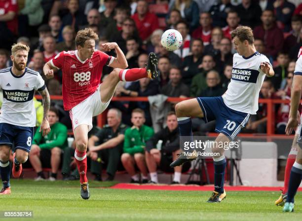 Kieran Dowell of Nottingham Forest and Dael Fry of Middlesbrough during the Sky Bet Championship match between Nottingham Forest and Middlesbrough at...