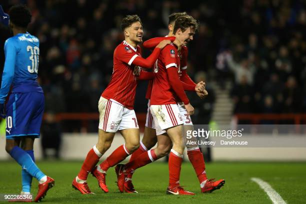 Kieran Dowell of Nottingham Forest celebrates with team mates after scoring their fourth goal from a penalty during the Emirates FA Cup Third Round...
