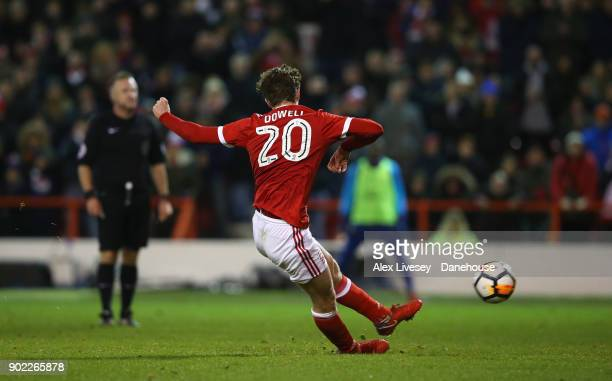 Kieran Dowell of Nottingham Forest scores their fourth goal from a penalty during the Emirates FA Cup Third Round match between Nottingham Forest and...