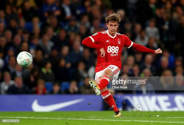 Kieran Dowell of Nottingham Forest shoots during the Carabao Cup Third Round match between Chelsea and Nottingham Forest at Stamford Bridge on...