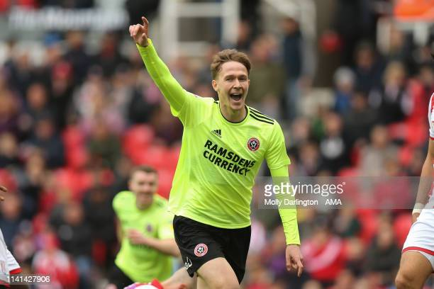 Kieran Dowell of Sheffield United celebrates after scoring a goal to make it 11 during the Sky Bet Championship match between Stoke City and...