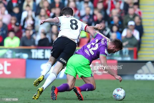 Kieran Dowell of Sheffield United fouls Tomáš Kalas of Bristol City during the Sky Bet Championship match between Sheffield United and Bristol City...