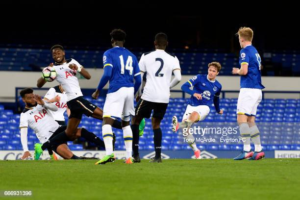 Kieran Dowell scores for Everton during the Premier League 2 match between Everton U23 and Tottenham Hotspur U23 at Goodison Park on April 10 2017 in...