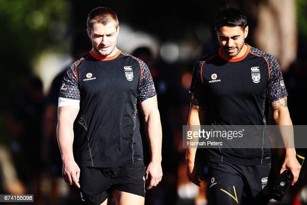 Kieran Foran and Shaun Johnson arrive for a New Zealand Warriors NRL training session at Mt Smart Stadium on April 28 2017 in Auckland New Zealand