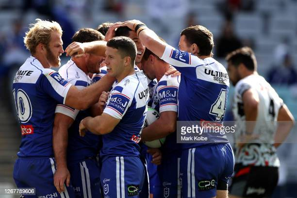 Kieran Foran of the Bulldogs celebrates after scoring a try during the round 15 NRL match between the Canterbury Bulldogs and the New Zealand...
