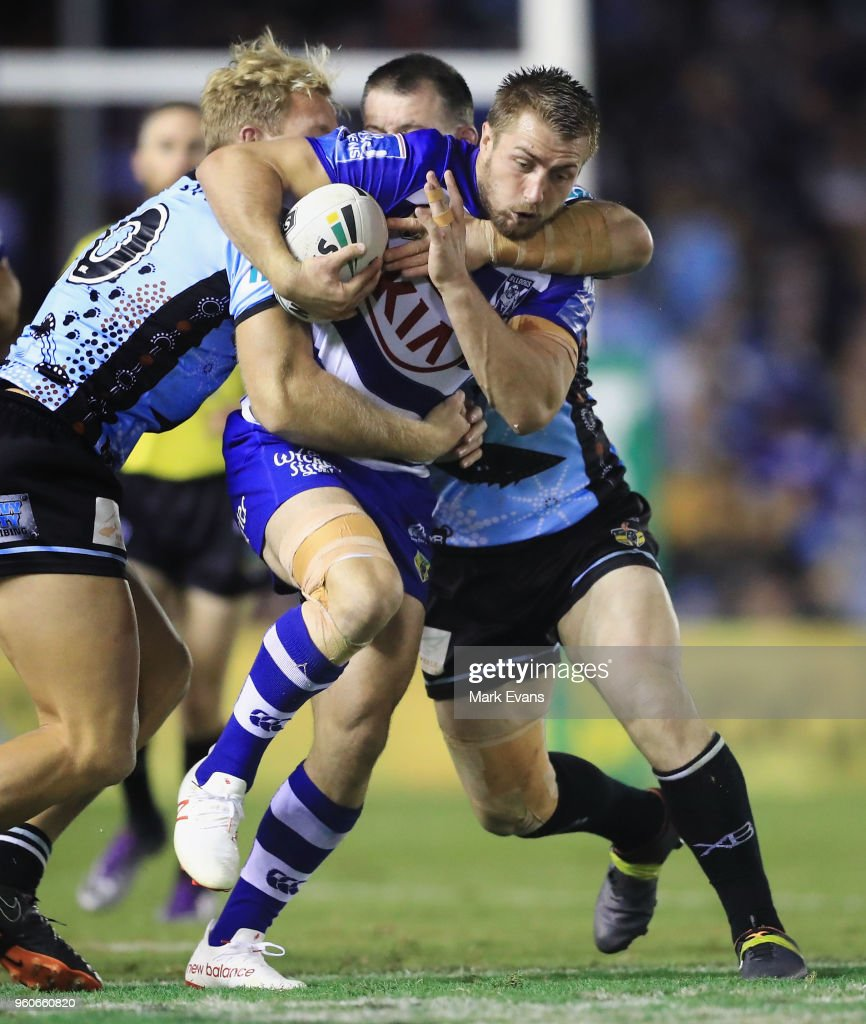 Kieran Foran of the Bulldogs is tackled during the round 11 NRL match between the Cronulla Sharks and the Canterbury Bulldogs at Southern Cross Group Stadium on May 20, 2018 in Sydney, Australia.