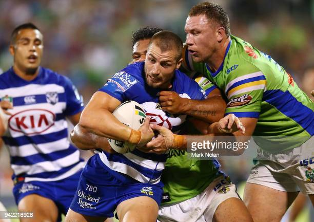 Kieran Foran of the Bulldogs is tackled during the round five NRL match between the Canberra Raiders and the Canterbury Bulldogs at GIO Stadium on...