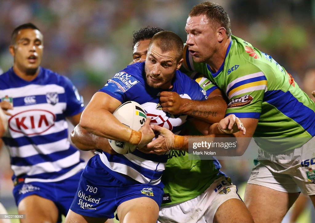 Kieran Foran of the Bulldogs is tackled during the round five NRL match between the Canberra Raiders and the Canterbury Bulldogs at GIO Stadium on April 5, 2018 in Canberra, Australia.