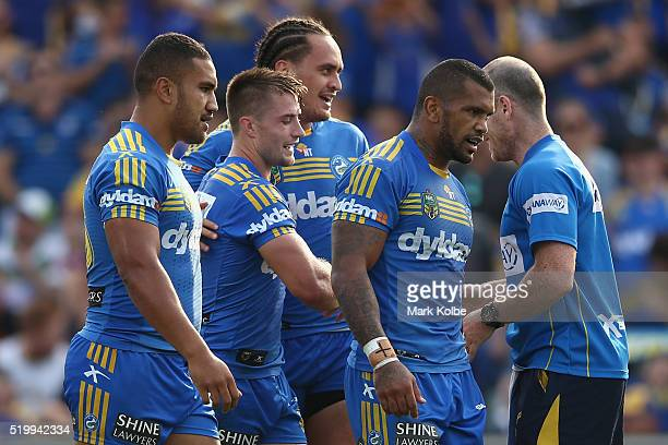 Kieran Foran of the Eels celebrates with his team mate Brad Takairangi of the Eels after scoring a try during the round six NRL match between the...