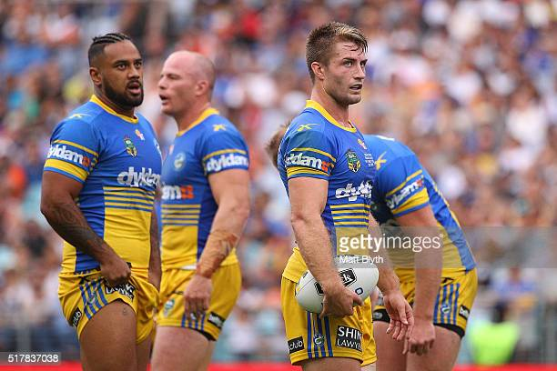 Kieran Foran of the Eels looks on during the round four NRL match between the Wests Tigers and the Parramatta Eels at ANZ Stadium on March 28 2016 in...