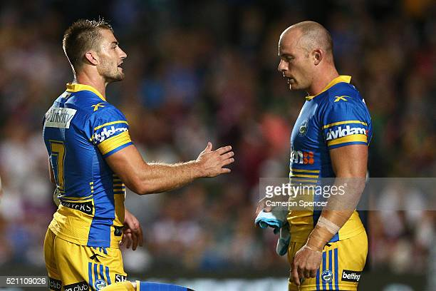 Kieran Foran of the Eels talks to team mate Beau Scott during the round seven NRL match between the Manly Sea Eagles and Parramatta Eels at Brookvale...