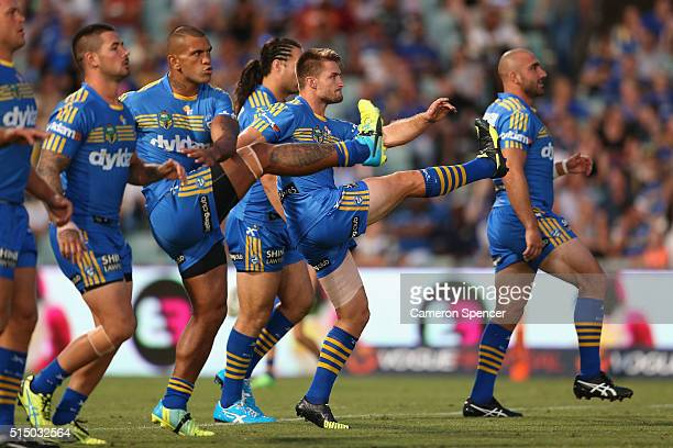 Kieran Foran of the Eels warms up prior to the round two NRL match between the Parramatta Eels and the North Queensland Cowboys at Pirtek Stadium on...