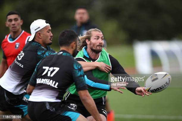Kieran Foran of the Kiwis passes during a New Zealand Kiwis training session at The Trusts Stadium on November 01, 2019 in Auckland, New Zealand.