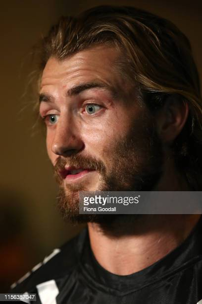 Kieran Foran of the Kiwis speaks to media during a New Zealand Kiwis media opportunity at Skycity Convention Centre on June 17, 2019 in Auckland, New...