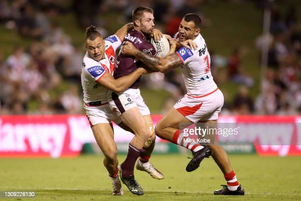 Kieran Foran of the Sea Eagles is tackled during the round three NRL match between the St George Illawarra Dragons and the Manly Warringah Sea Eagles...